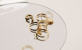 Øreringe, forgyldt, glasplade, smykkesamling